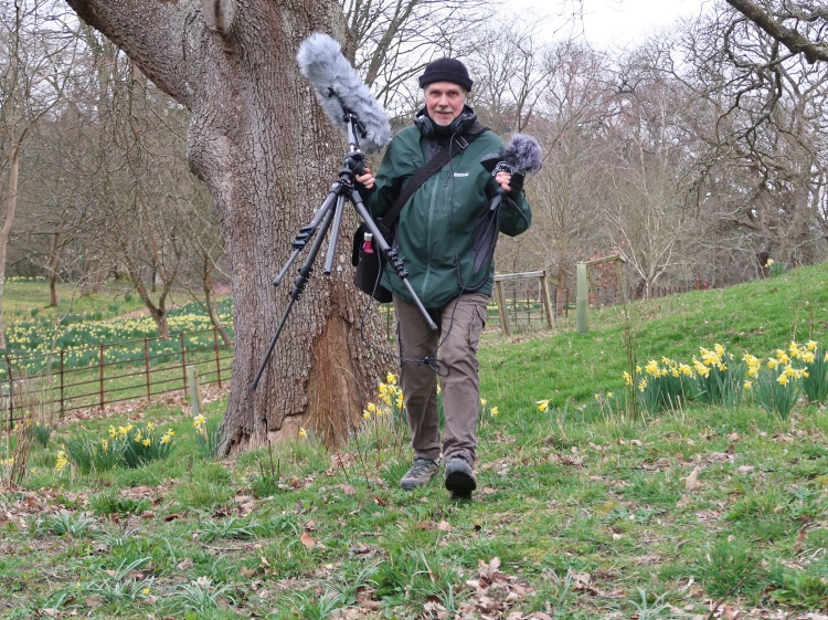 Graham Hembrough photographed whilst sound recording at Bodnant estate.